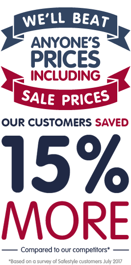 We'll beat anyone's prices including sale prices. Our customers saved 15% more compared to our competitors*.  *Based on a survey of Safestyle customers July 2017.