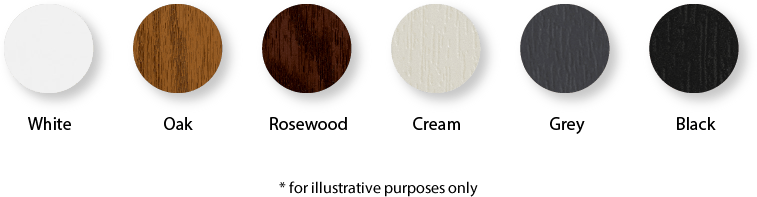 White, oak, rosewood, cream, grey and black colour swtaches *for illustrative purposes only