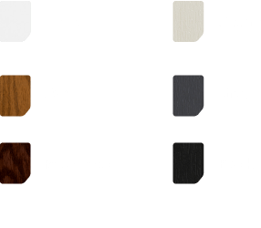 White oak, rosewood, cream, grey and black colour swatches