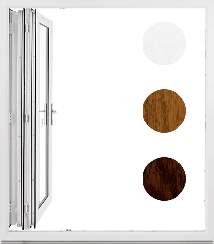 Bifold doors open position. Available coloir options, white, oak and rosewood. *for illustrative purposes only