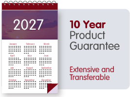10 Year Product Guarantee. Extensive and transferable.