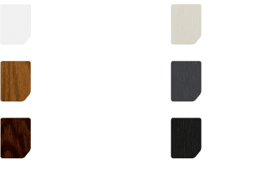 White, oak, rosewood, cream, grey and black swatches