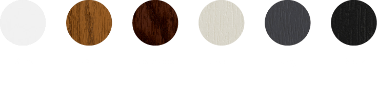 White, oak, rosewood, cream, grey and black *for illustrative purposes only