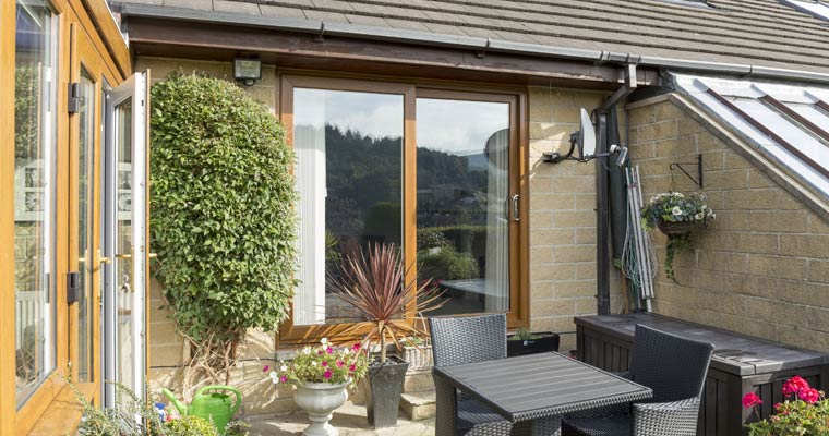 Brown wooden looking patio door