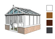 Gable style conservatory available in white, oak,rosewood and grey