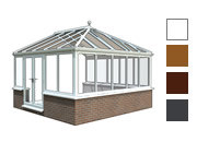 Georgian style conservatory available in white, oak,rosewood and grey