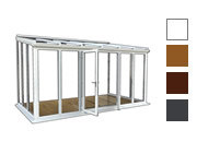 Lean to style conservatory available in white, oak,rosewood and grey