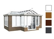 T shape style conservatory available in white, oak,rosewood and grey