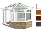 Victorian style conservatory available in white, oak,rosewood and grey