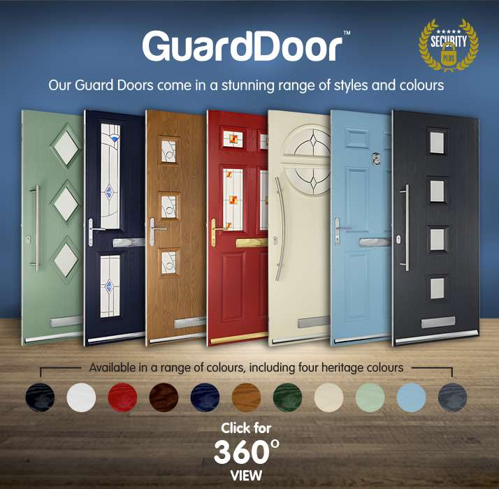 Our Guard Doors come in a stunning range of styles and colours. Available in a range of colours, including four heritage colours. Click for 360 view.