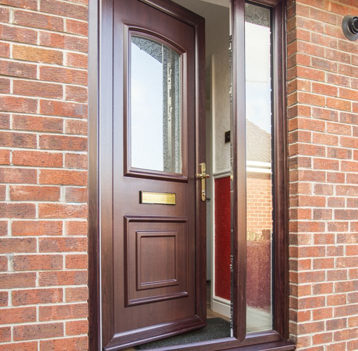 Mahogany Upvc Front Doors: Safestyle Door Prices & Black Windsor With Black Frame