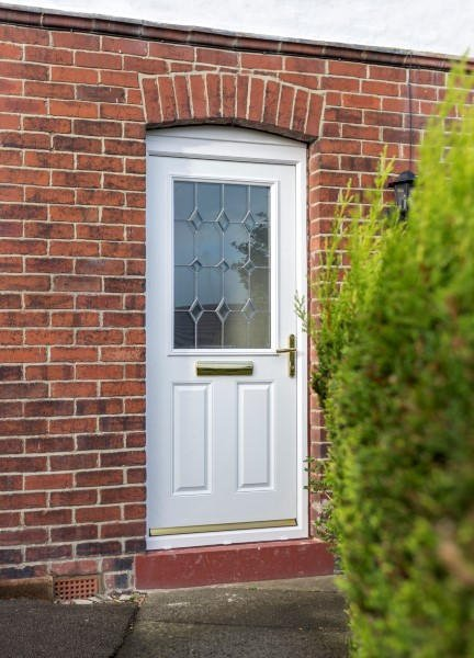 White Exeter with decorative glass & Composite Double Glazed Front Doors | Safestyle UK
