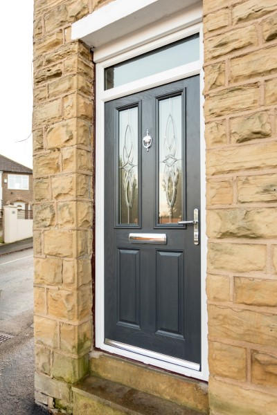 Grey Guarddoor with toplight & Composite Double Glazed Front Doors | Safestyle UK