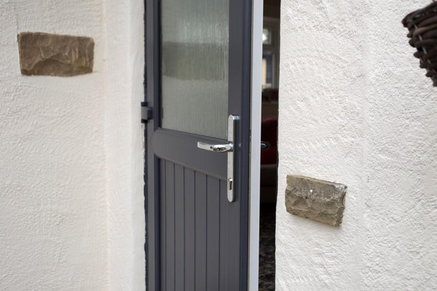 Upvc half glazed exterior doors safestyle uk for Back door with window that opens