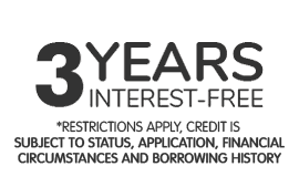 3 years interest-free. 0% Apr Representative Spread the cost interest free. *Restrictions apply