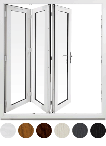 uPVC Bifold door and colour swatches