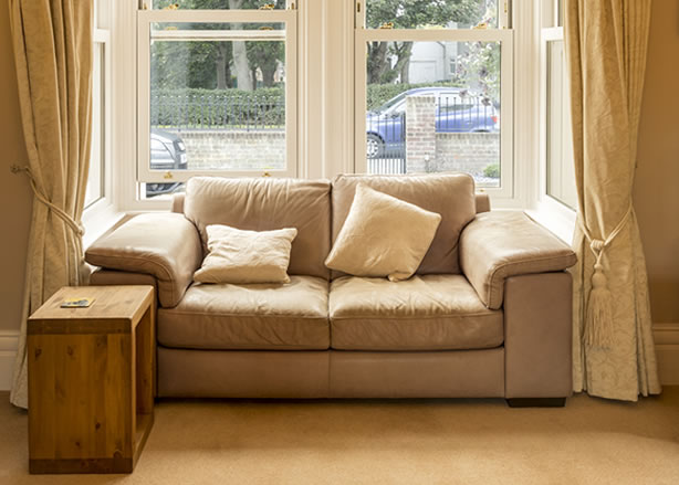 Cosy room with sash bay window
