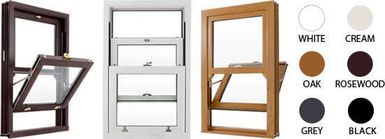 Sash frames available in white, cream, oak, rosewood and grey